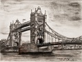 Tower Bridge, charcoal on paper, 32cm x 24 cm