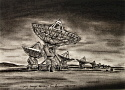 Very Large Array, charcoal on paper, 32cm x 23 cm